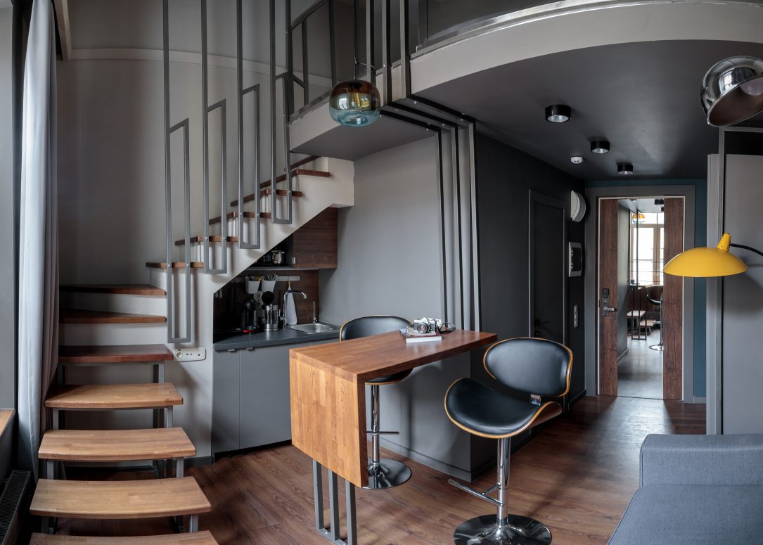 A two-story studio 28 m2