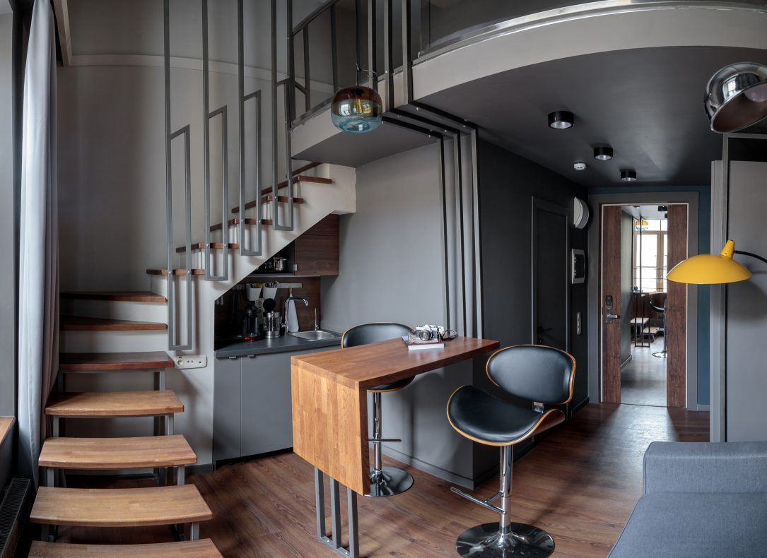 A two-story studio